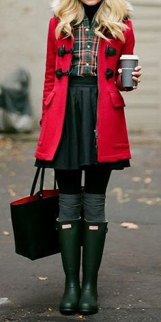 plaid, red coat and boots