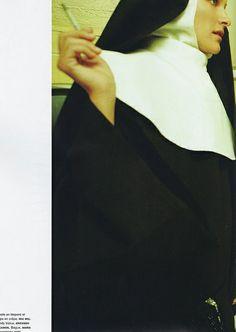 Miranda Kerr, photo by Greg Kadel (Numéro June/July 2010) † #nun #smoking #cigarette #nunshabit #religion #religious #iconography #supermodel #female #model #nunsploitation #MirandaKerr #GregKadel #Numéro #June #July #2010
