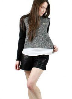 Black & Gray Zip Detail Cuff Slit Shirt #colorblock #top #casual #ustrendy