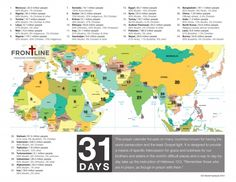 31 days of prayer for 31 countries with the most persecution for Christians. Do this every day, every month.