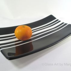 Black and White Stripe Rectangle Tray Fused Glass from Glass Art by Margot for $45.00 on Square Market