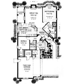 Patio home, nice features, open, good second home ~ English Country Style House Plans - 1628 Square Foot Home , 1 Story, 2 Bedroom and 2 Bath, 2 Garage Stalls by Monster House Plans - Plan 8-141