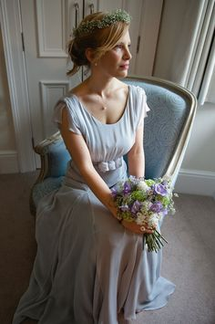 Pale blue wedding dress by Belle and Bunty. Photography by www.photosbyjessica.co.uk