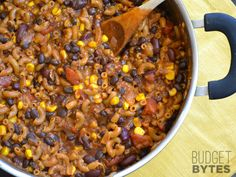 This super hearty One Pot Chili Pasta is bursting with southwest chili flavor, protein, and fiber. It's a meal in a bowl that the whole family will love.