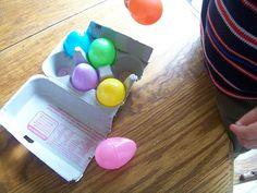 egg carton + plastic eggs