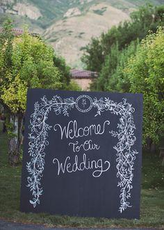 Beautiful chalkboard wedding welcome sign