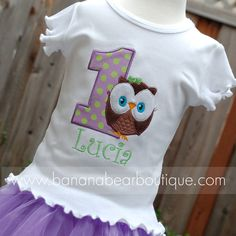 Lavender Limeade Owl Birthday Shirt or by bananabearboutique, $25.00