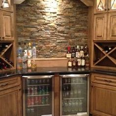 Living room basement inspiration on pinterest basements man caves and fireplaces - Corner wet bar designs ...