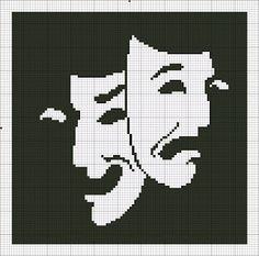 filet crochet drama mask