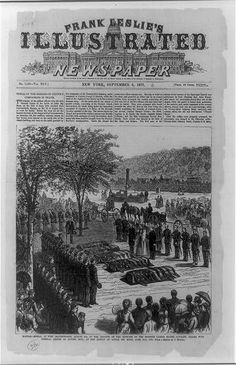 Kansas--burial at Fort Leavenworth, August 4th, of the remains of the officers of the Seventh United States Cavalry, killed with General Custer by Sitting Bull, at the Battle of Little Big Horn, June 25th, 1876