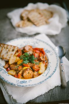 Gorgeous Hungarian lecho -- a rich stew with lots of veggies and crispy sausages. Use 4 oz. nitrate-free turkey or chicken sausage per serving, and skip the honey or sweeten with stevia if you like a little extra sweetness (saute in broth instead of oil for Phase 1)