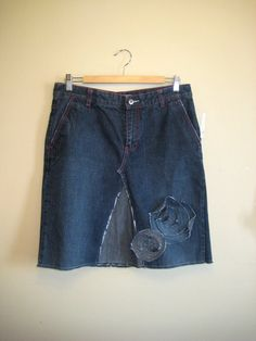 denim skirt ladies jean upcycled size 6 ooak great style by optic