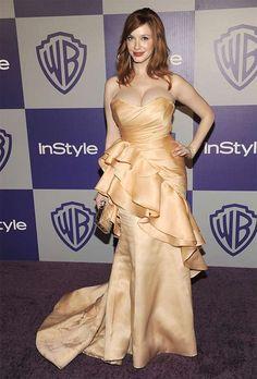 Christina Hendricks no Globo de Ouro.