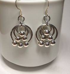 Silvery Beaded Chain Maille Earrings by ChainMailleBeauty on Etsy, $18.00