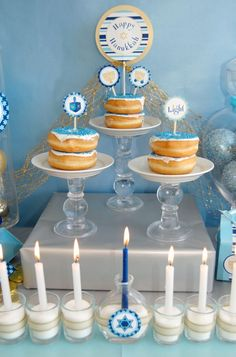 Love the food and love the bottles with the candles up front #holiday #diy #craft #holiday #holidays #Hanukkah #Hanukkahdecor