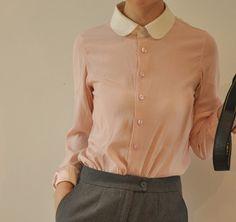 sleev shirt, silk satin, satin white, collar long, collars, long sleev, pink peter, pure silk, sleeves