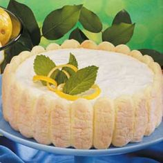 Frozen Lemon Torte from Fare for Friends  Absolutely scrumptious and delicate cold  lemon torte perfect for a warm summer's night.