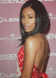 Jada Pinkett Smith. love the hair. Short in the back, long in the front.