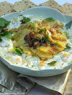 Turmeric and Saffron: Borani Kalam Ghomri - Persian Kohlrabi and Yogurt Dip
