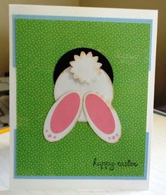 Easter bunny card using punches, oval and circle.