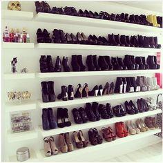 dream closets, shoe collection, floating shelves, blank walls, shoe closet, book, shoe storage, walk, shoe racks