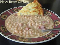 Navy Beans and Ham served with Jalapeno Cornbread
