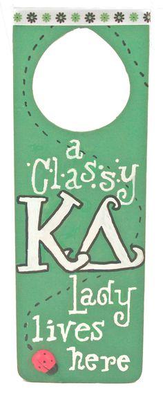 Kappa Delta - KD door hanger made with supplies and custom stencils from DIYGreek.com. #kappa delta,  #kay dee, #kd, #sister, #little sister, #craft, #idea, #sorority, #greek,  #gift