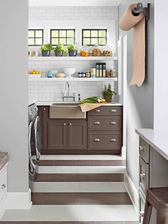 transom windows, open shelves, stripe floor, cabinet colors, kitchen pantries, tile, innov kitchen, sink, wall and floor