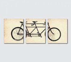 Vintage Wall Art Print - Tandem Bike Wall Art Set of Three 8 x 10 Prints - Wall Art Trio - Room Decor on vintage paper, French Script or Gru...