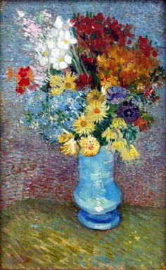 Flowers in a blue vase by Van Gogh vangogh, vans, gogh paint, art, blue vase, anemon, flowers, vincent van gogh, blues