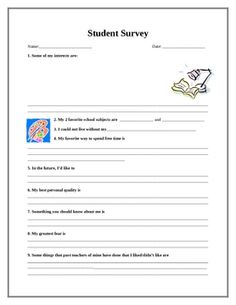 This FREE Student Survey will help you get to know your students quickly, when you get back to school (or if you're starting through the year with ...