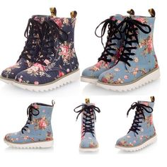 Girls Womens Lace Up Canvas Platform Flowers Printing Shoes Ankle Boots US 4.5-9