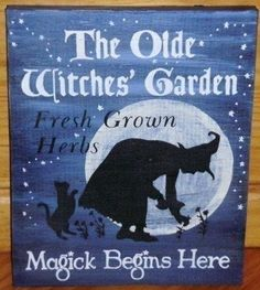 Witches Garden Primitive Witch Sign Signs Primitives Folk Art Witchcraft Black Cats Magic Herbal Apothecary Spells Potions Herbs wiccan by SleepyHollowPrims $27