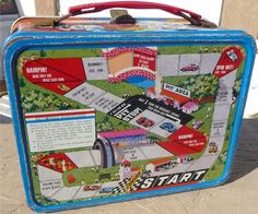 1967 Auto Race Lunch Box with Magnetic Game Kit