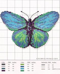 Blue butterfly cross stitch chart