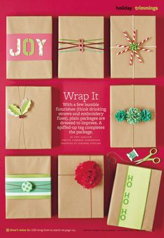 christmas gift wrap w/ brown paper