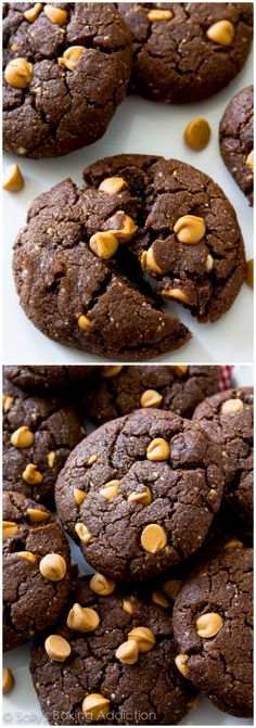 Healthier Peanut Butter Chocolate Cookies made without flour or butter. Ultra chewy, melt-in-your-mouth, and gluten free!