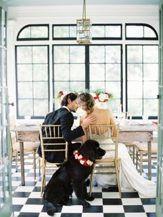 Floral wedding wreath around dog | photography by http://erichmcvey.com/ | creative direction by http://www.projectwedding.com/ | floral and event styling by http://www.petalosdesign.com/ |