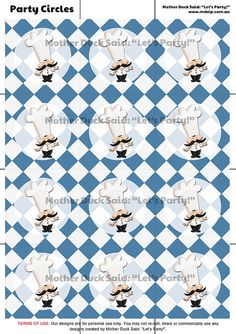 Blue Master Chef Party Circles or cupcake toppers