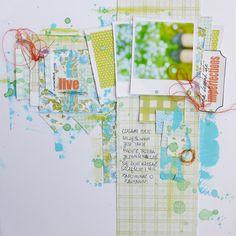 1 photo + polaroid frame + scraps + paint