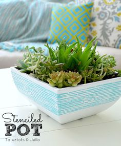 Stenciled Succulent Pot Tutorial at Tatertots and Jello -- #DIY #Spring