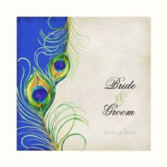 Simple and yet dramatic Peacock Feathers Wedding Invitation set.