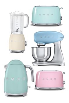 vintage appliances, kitchen gadgets, smeg kitchen, small kitchens, vintage cooking, pastel things, kitchen ware, pastel kitchen ideas, vintage style