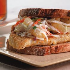 Crispy Fish Sandwich with Pineapple Slaw