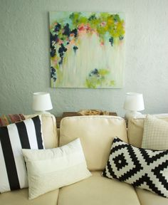 abstract art over couch #decorating #diy