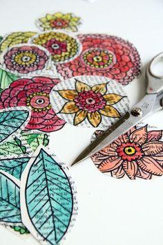 Alisa burke art journal, text, old book pages, scrapbook embellish, whimsical doodles, doodle leaves, flower, old books, acceptance journal