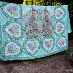 Vintage Turquoise Peacock Chenille Bedspread by victoriavelting, $250.00