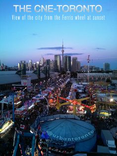 The CNE 2014. View of the city from the CNE Ferris wheel at sunset.