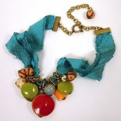 jewelry tutorials, bead, ribbon necklac, ribbons, color combinations, fray ribbon, necklaces, diy, jewelri