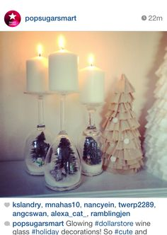 "Wine Glass ""Snowglobe"" Candle holders! perfect gift!"